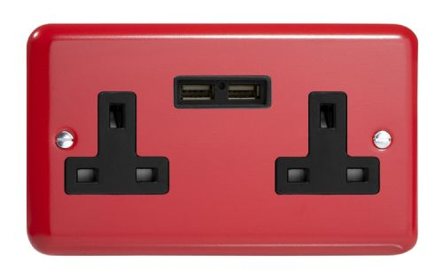 Varilight XY5U2B.PR Lily Primary Pillar Box Red 2 Gang Double 13A Unswitched Plug Socket 2.1A USB